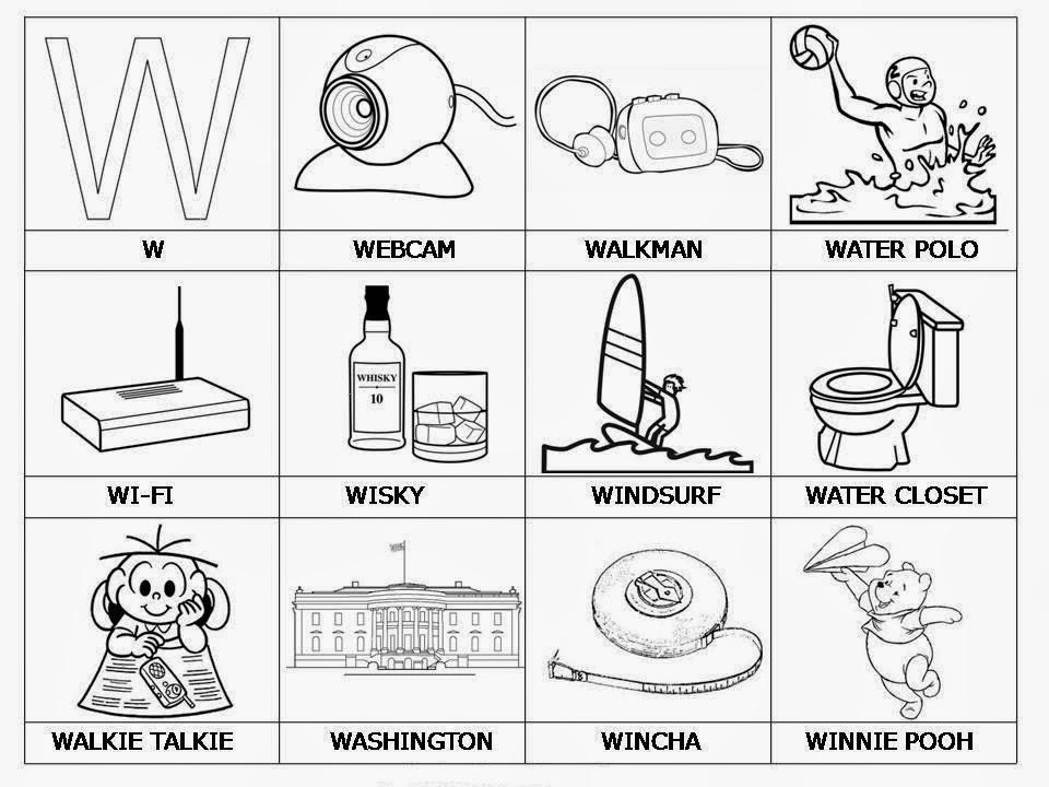 Palabras que comienzen con W  dibujos para imprimir  Material