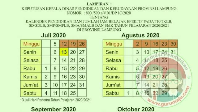 Kalender Pendidikan 2020/2021 Lampung RESMI