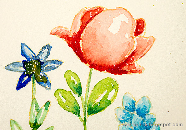 Layers of ink - Watercolor Floral Garden no-line coloring tutorial by Anna-Karin Evaldsson.