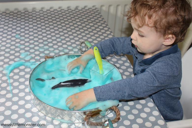 ocean soap foam sensory play