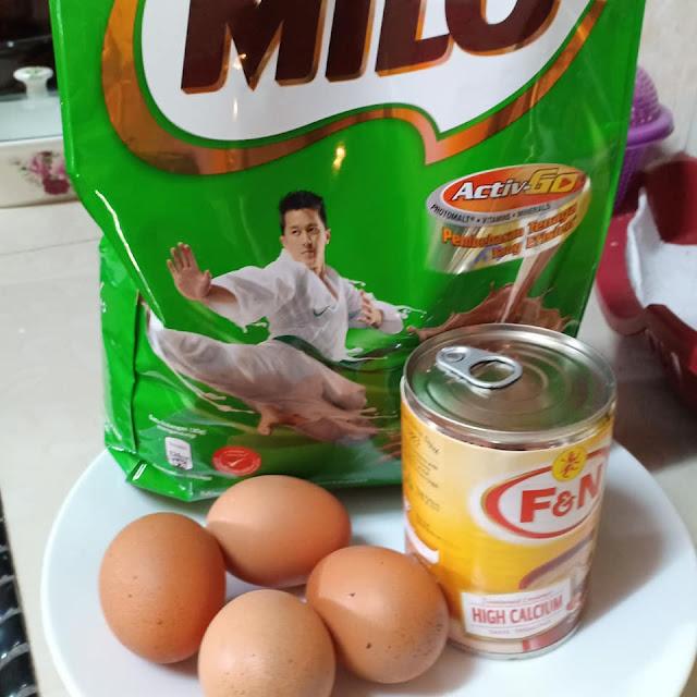 bahan untuk  buat Kek Milo Kukus