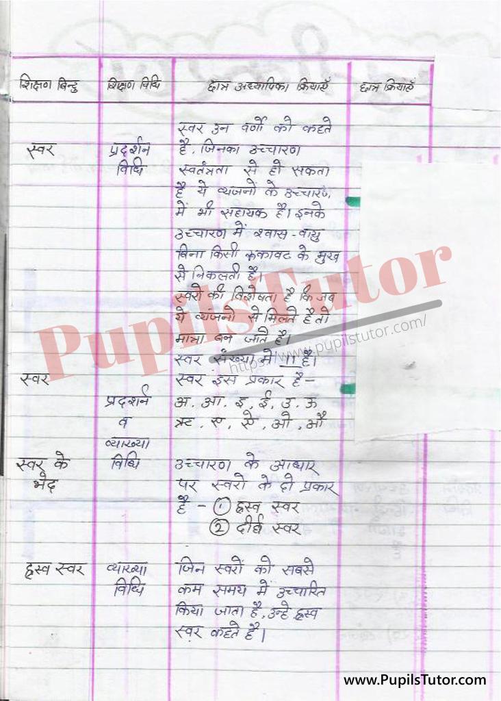 Varn Aur varn Ke vibhinn Bhed Evam Prakar par Lesson Plan in Hindi for BEd and DELED