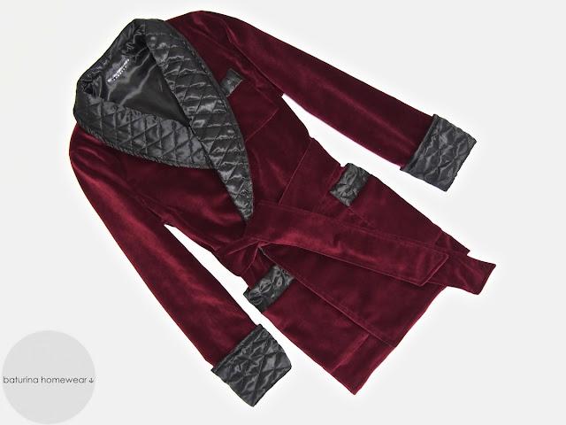 Mens red velvet dressing gown english gentleman quilted silk smoking robe
