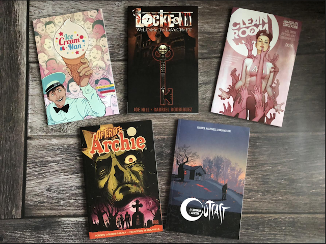 5 graphic novels archie, clean room, ice cream man, outcast and locke and key