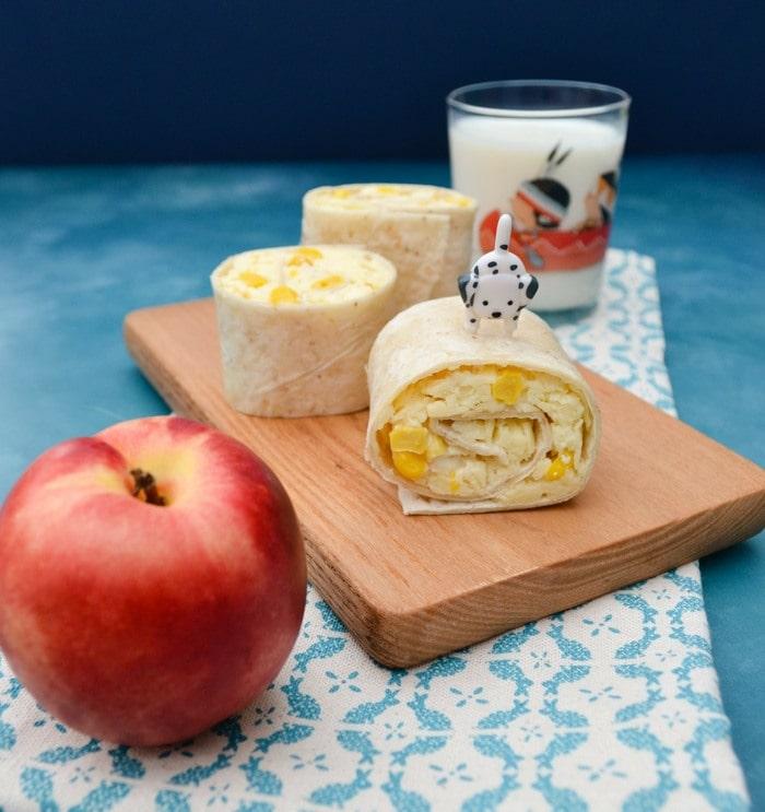 Cheese and sweetcorn pinwheel sandwich