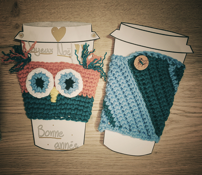 cup cozies, owl, coffee, gift, present, teacher, christmas, crochet