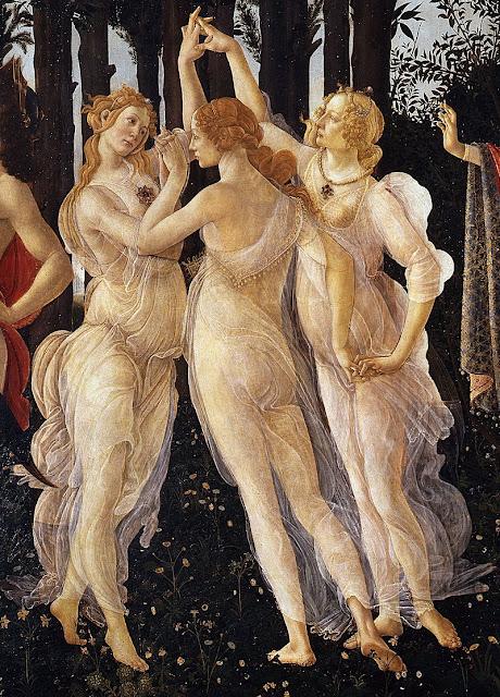 Sandro Botticelli Primavera detail of Three Graces