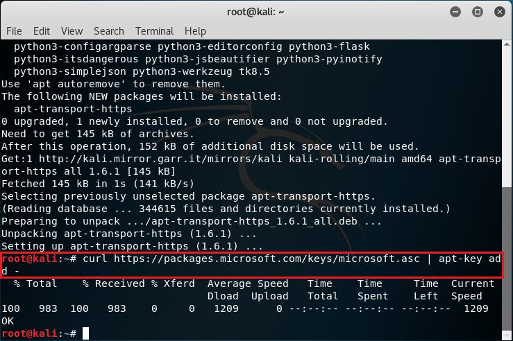 Aggiungere la chiave GPG del repository Microsoft