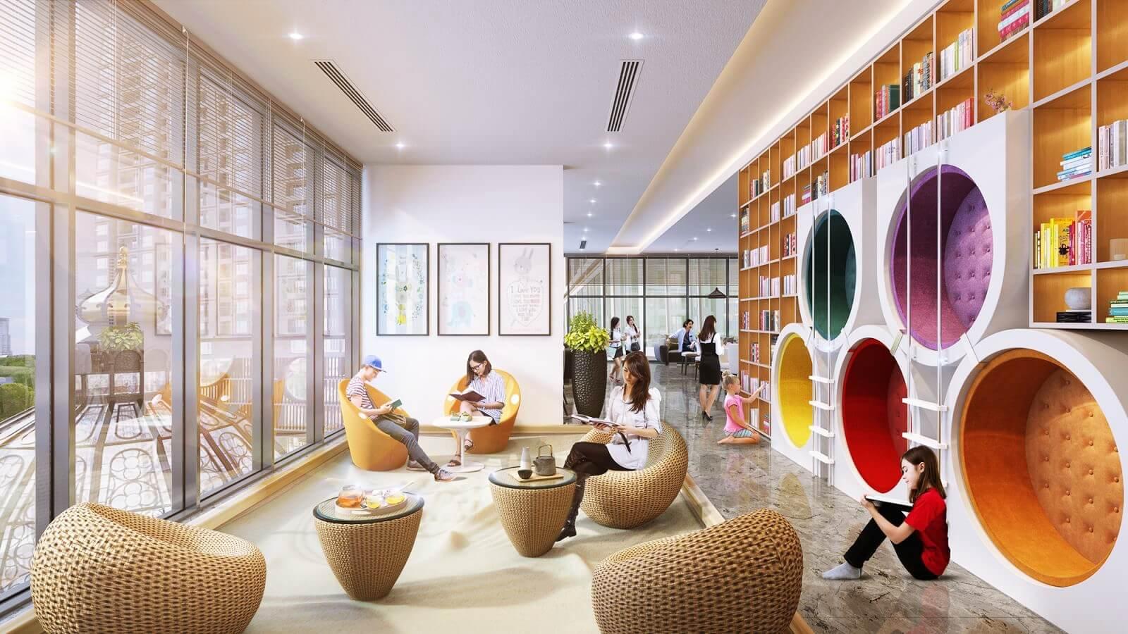 Không gian đọc sách tại dự án Hinode Minh Khai