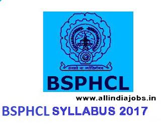 BSPHCL JEE Syllabus 2017