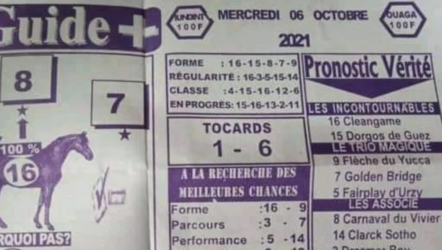 quinté+ Pronostic pmu Mercredi Paris-Turf TV-100 % 06/10/2021