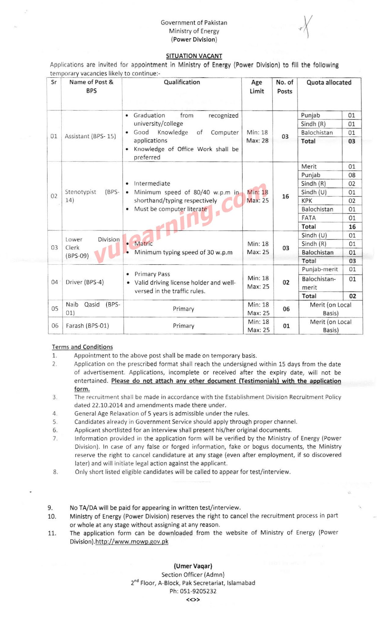 Ministry of Energy (Power Division) Jobs 2020