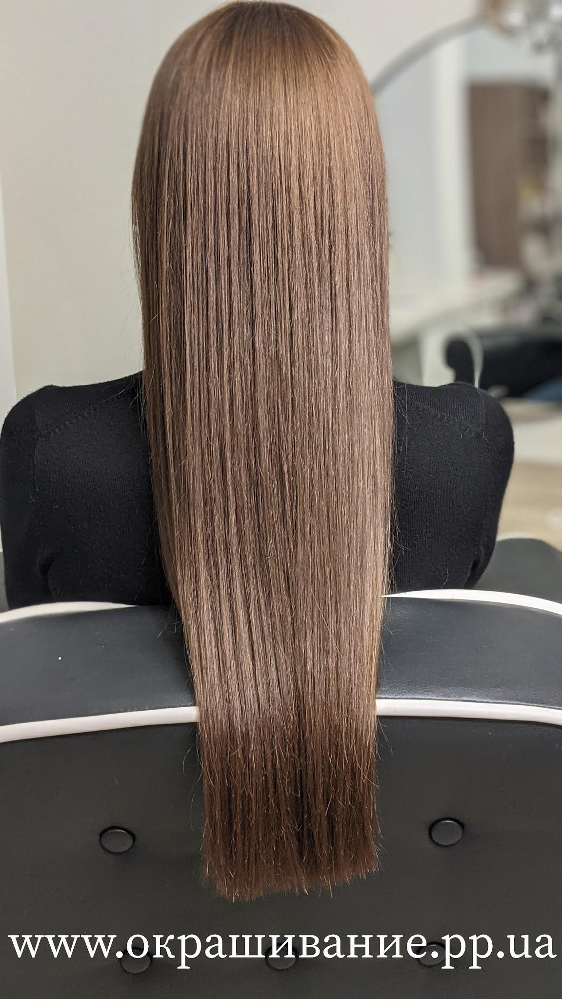 Покраска тёмных волос в шатенку