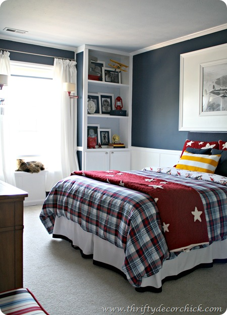 Red blue and white boy room with built ins