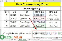 Hàm Choose trong Excel – Cách sử dụng và ví dụ về hàm Choose