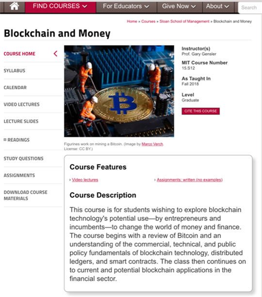 Good introduction to Blockchain, Money and Crypto Currencies (Source: MIT OpenCourseWare)