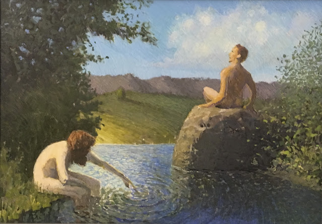 Egg tempera painting of nude woman and man seated by a woodland pool. She is dabbling the water to make ripples,  which spread out towards the man seated on a rock in a listening attitude