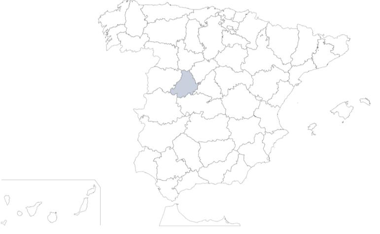 Provicnia de Ávila en mapa de España