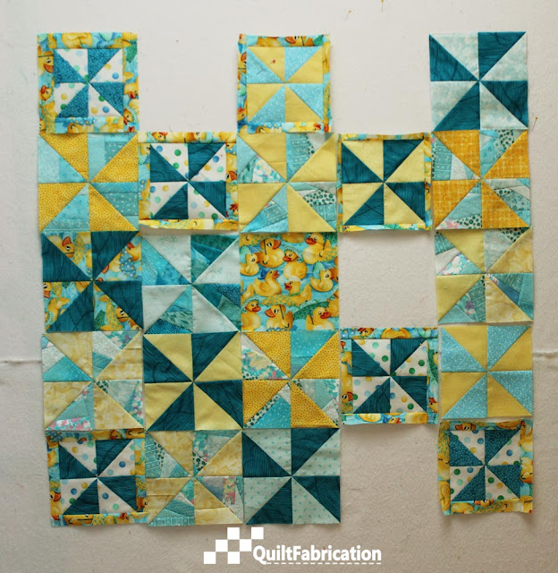 progress on pinwheel duck quilt