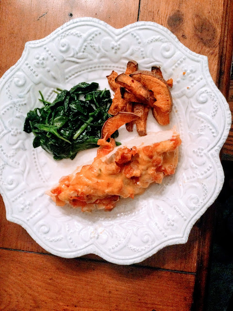 stoneware plate with easy baked chicken