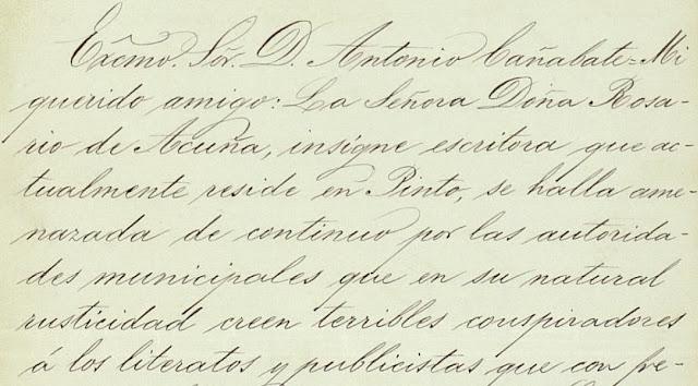 Fragmento de la copia de la carta que Alfredo Vega, vizconde consorte de Ros, envía a Antonio Díaz Cañabate (Archivo personal de Rosario de Acuña, Biblioteca Histórica Municipal de Madrid)