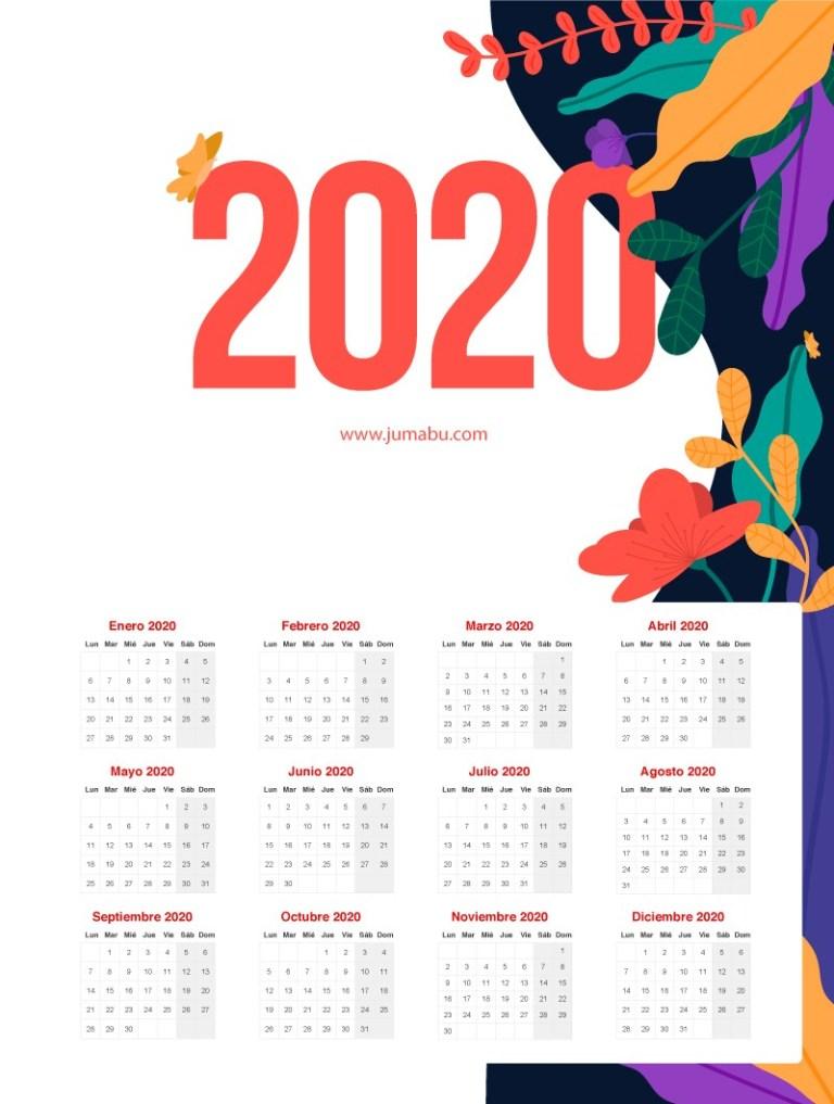 Calendario de flores 2020 editable gratis