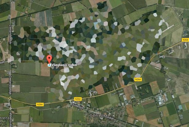 Coloured in: Volkel Air Force base looks like someone took crayons to it (Image: Google Maps)