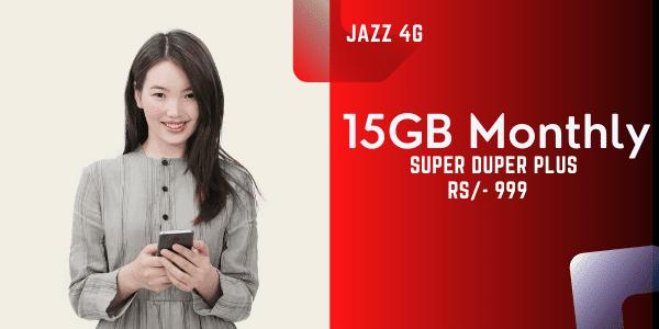 Jazz Monthly 15GB internet Package, Super Duper Plus Offer