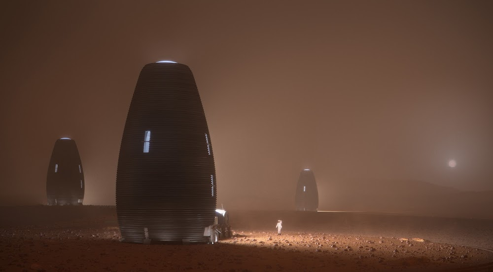 3D-printed Mars base MARSHA in duststorm by AI SpaceFactory (NASA's 3D-Printed Habitat Challenge)