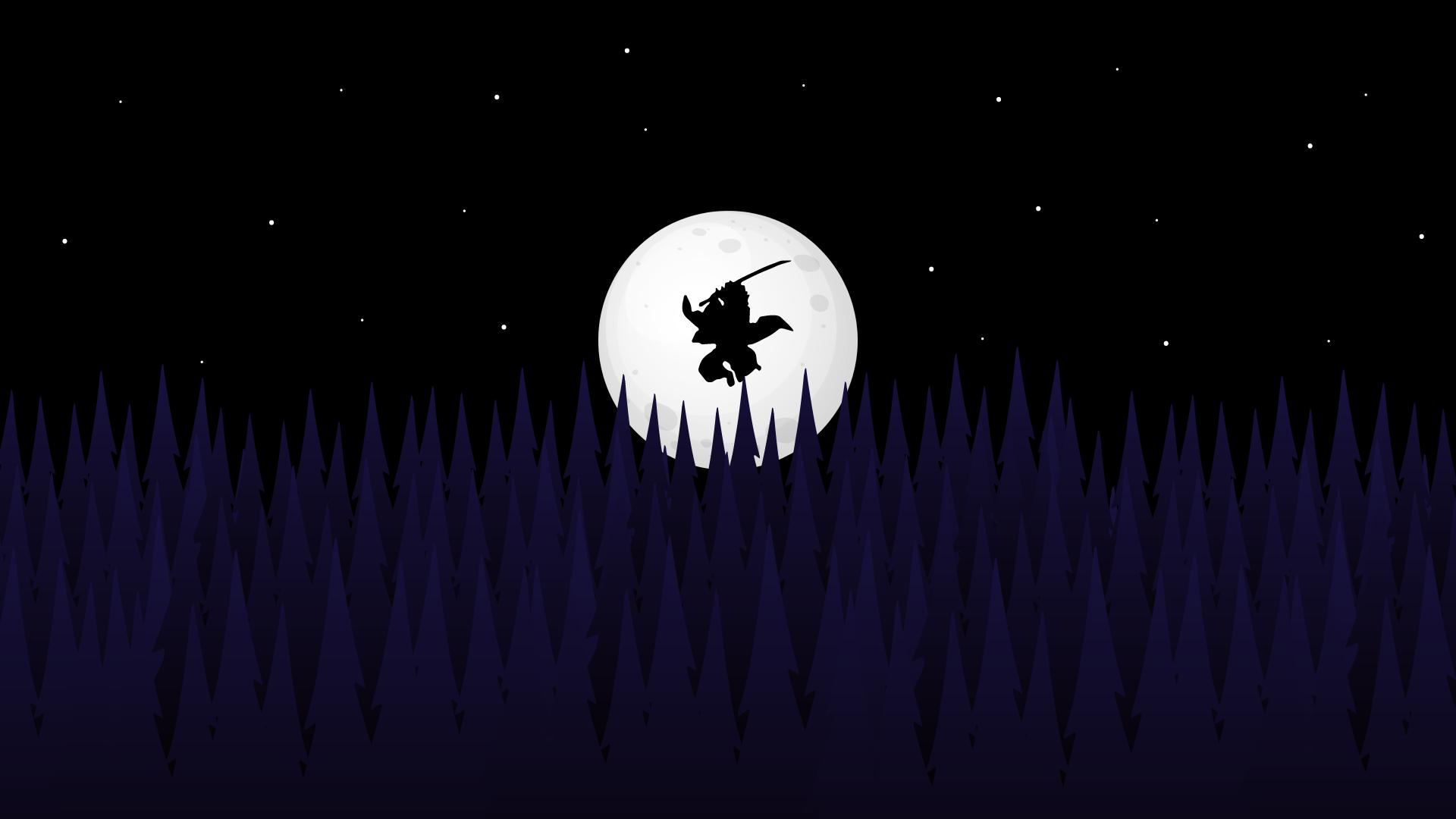 demon slayer anime wallpaper 4k tanjiro kamado silhouette forest night full moon