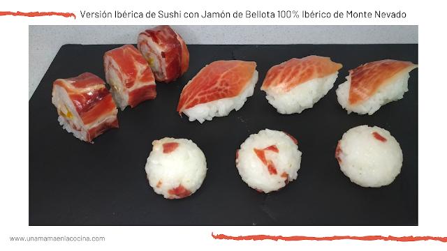 Versión Ibérica de Sushi con Jamón de Bellota 100% Ibérico de Monte Nevado maki nigiri onigiri