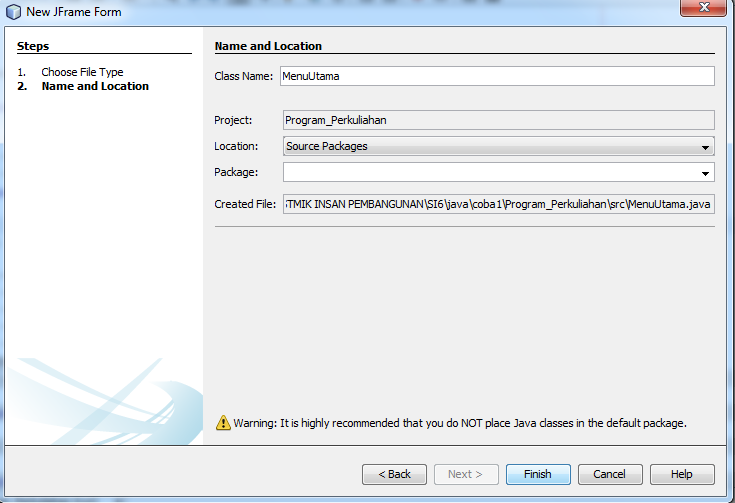 Membuat form Data Mahasiswa Java Netbeans koneksi Database MYSQL