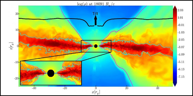 This image shows how the inner region of the accretion disk (red) aligns with the equatorial plane of the black hole. The outer disk is tilted away. The inner disk (where the black curve dips) is horizontal, signaling the long-sought Bardeen-Petterson alignment. Credit: Sasha Tchekhovskoy/Northwestern University; Matthew Liska/University of Amsterdam