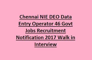 Chennai NIE DEO Data Entry Operator Govt Jobs Recruitment 2017 Walk in Interview
