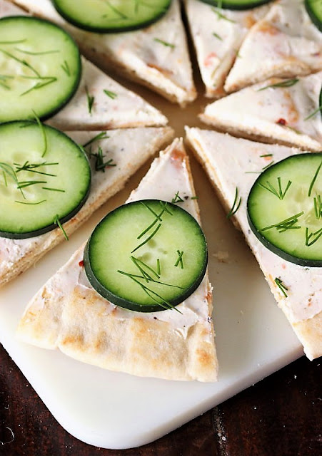Easy Cucumber Pita Bites Topped with Fresh Dill Image