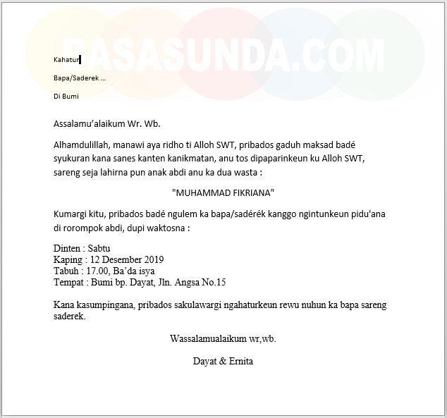 Download Contoh Surat Undangan Uleman Syukuran Bahasa Sunda Beserta Gambar Dan File Documentnya