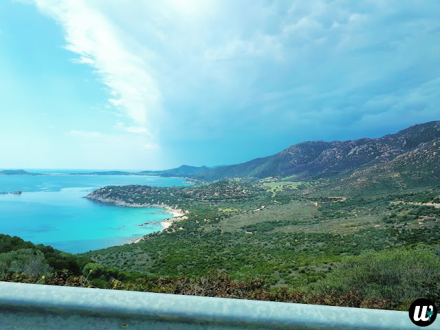Beautiful coastal view from car, driving | Sardinia, Italy | wayamaya