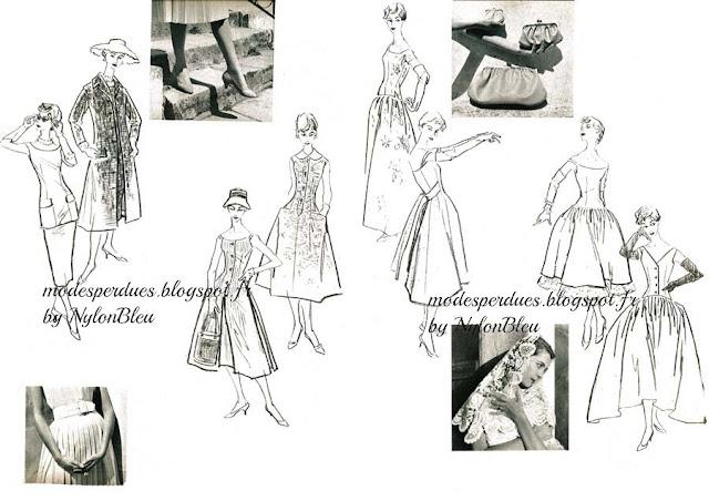 Double page de croquis pour les Patrons des éditions du Jardin des Modes  Pour chaque page   A gauche tenues pour jeunes femmes - A droite tenues  pour ... 345068b989c