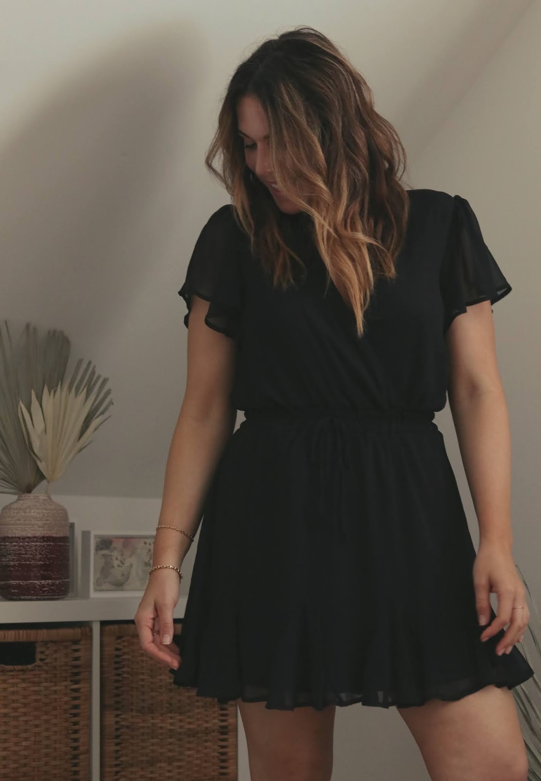 Le Chateau black chiffon summer dress