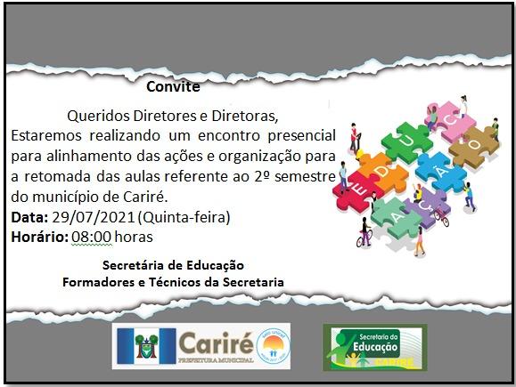 Educação realizará dia 29/07, às 8h, o encontro para a retomada das aulas do 2º semestre letivo