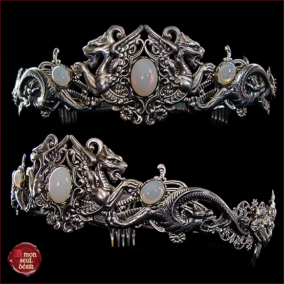 couronne dragon blanc opale mariage médiéval renaissance crown dragons fantasy circlet moonstone white opal targaryen headdress