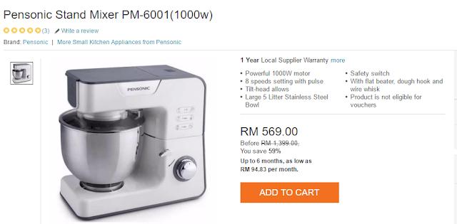 Pensonic Stand Mixer PM-6001(1000w) ,beli Pensonic Stand Mixer PM-6001(1000w)  ,lazada malaysia