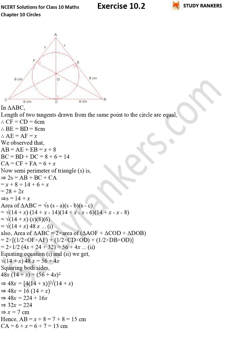 NCERT Solutions for Class 10 Maths Chapter 10 Circles Exercise 10.2 Part 9