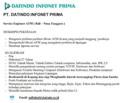 Lowongan Kerja di PT Datindo Infonet Prima Sebagai Service Engineer ATM