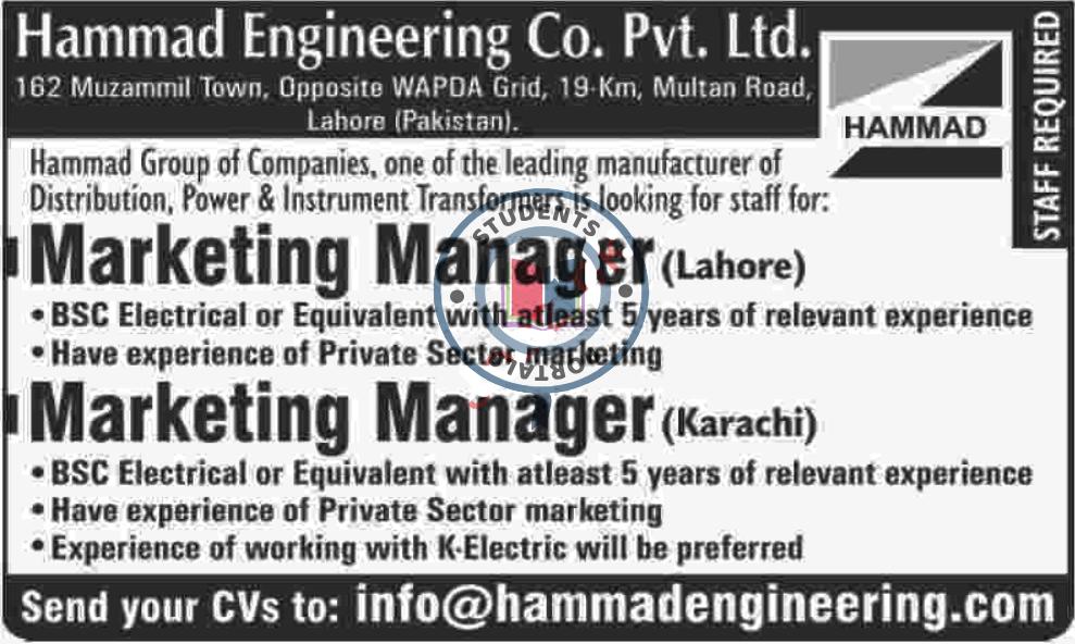 JOBS IN MARKETING MANAGER IN KARACHI 2019