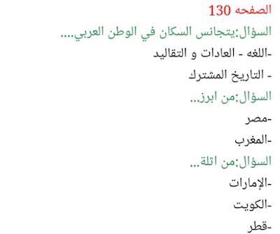 حل درس سكان الوطن العربي للصف التاسع الفصل الثاني