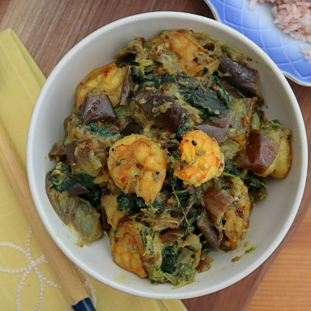 pumpkin leaves side dish with shrimp