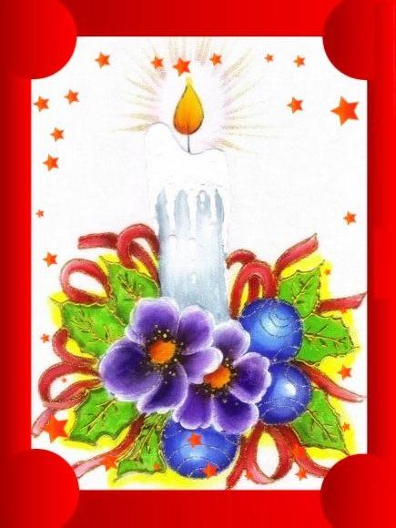 Pintura em Tecido de Natal Velas de Natal