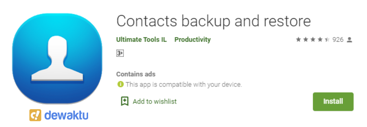 Contacts backup and restore