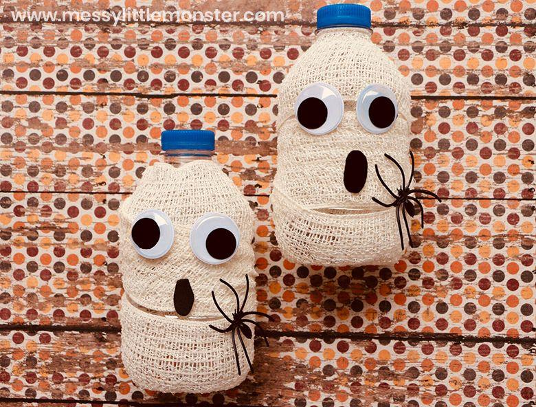 mummy water bottle Halloween craft